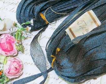 1y ANTIQUE BLUE GOLD Mesh RosetteTrim French Ruch Trim Metallic Tricotine Doll Dress Rococo Bow Ribbon Vintage Thread Vestment Embroidery