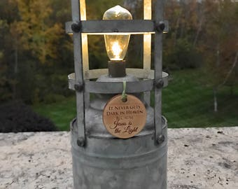 Rustic memorial eternal LED light Lantern light Personalized gift Miscarriage Stillbirth loss of loved one celebration of life