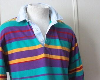1980s men's striped polo rugby shirt - light blue + purple + gold + green + deep red - short sleeves, preppy, GANT, RUGGER - size medium
