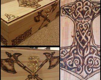 Handburned Viking Heathen Thor's Hammer Wooden Wine Mead Box