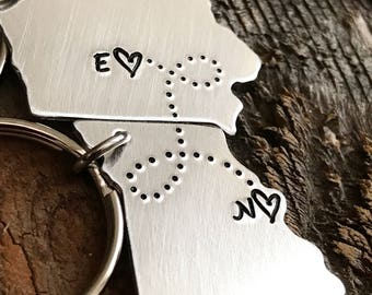 Boyfriend Gift ANY 2 State to State hand stamped jewelry Keychain gift long distance relationship Long distance boyfriend gift