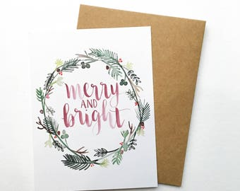 "Hand Lettered ""Merry + Bright"" Christmas Card"