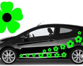 32, Green & black flower car decals,stickers in three sizes
