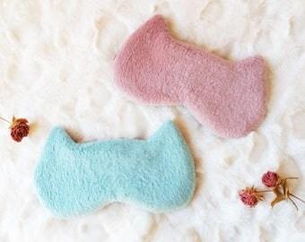 Furry Cat sleep masks - Cute Fluffy Fur kitty eye mask - Mint Green Pink Pj party favor - Travel mask - blindfold - Slumber party  eye mask