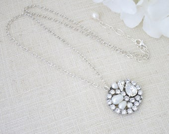 Crystal pendant, Crystal wedding necklace, Swarovski crystal and pearl pendant necklace, Antique silver bridal necklace, Mother of bride