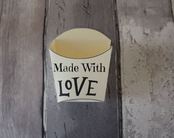 MADE WITH LOVE valentine's packaging french fry gift box craft packaging scrubby box cookie handmade box valentines wedding favours