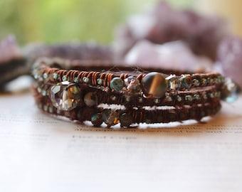 Boho Bangle Stack, Boho Bracelet Set, Stacking Bangles, Wire Wrapped Bracelets, Stacking Bracelets, Fabric Wrapped Jewelry, Vegan Bracelets