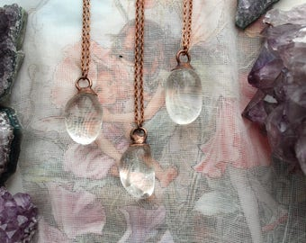 Clear Quartz Necklace, Clear Quartz Jewelry, Boho Copper Jewelry, Copper Plated Crystal Jewelry, Electroformed Jewelry, Witchy, Pagan, Vegan