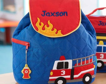 Personalized Fire Truck Embroidered Backpack