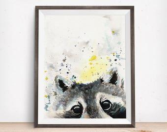 Raccoon Print - Raccoon Art - Nursery Decor -Woodland Animal Gift - Watercolor Decor - Watercolor Wildlife - Abstract Art - Minimalist Art
