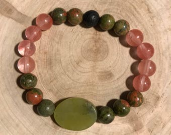 Essential oil diffuser necklace with lava rock, unakite, and rose quartz beads- 6 inches