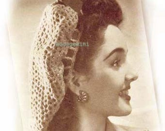 Crocheted Fishnet Snood Vintage Hat Hairnet Hair Net Crochet Pattern PDF