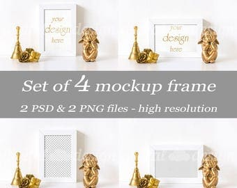 Set Gold Christmas Bell Styled Stock Photography Angel Roses Desk Frame Mockup Bundle Download Empty Art Frame Product Digital Background