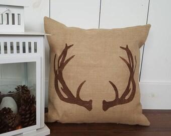 Cotton Canvas or Burlap Pillow Cover. Antler Silhouette. Customizable.Zipper enclosure. Rustic home decor. Cottage/cabin decor. Rustic Chic.