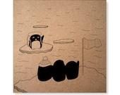 Farewell Penguin Handmade Illustrated Card, Good Luck, Bon Voyage, Traveller Card