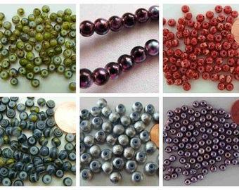 95 à 100 perles verre peint Rondes 4mm au choix création bijoux déco