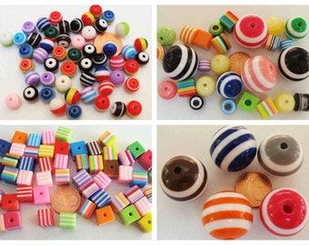 Perles STRIP rayures mix couleurs résine modèle au choix création bijoux DIY loisirs