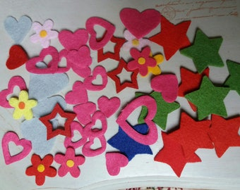 felt in different shapes and colors set of 45