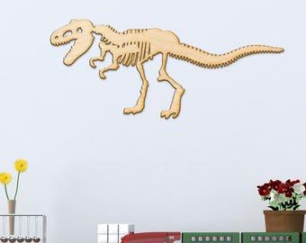 T-Rex Skeleton Wood Cut Sign - Wood Sign Art, Wooden Dinosaur, Laser Cut Wood Sign, T-Rex, Dinosaur Decor, Dinosaur Skeleton, T-Rex Art