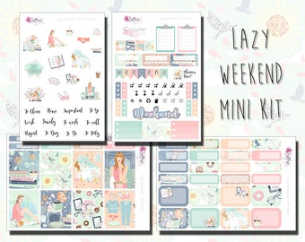 Lazy Weekend - Mini Kit - Relaxation, Self Care, Weekly Sticker Kit. Planner stickers for ECLP, Happy Planner, Personal Planner, TN etc