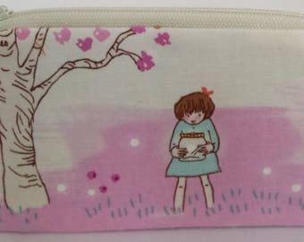 Little Zipper Pouch - Catching Fireflies, Girl // Coin Purse // Gift Card Holder // Party Favor // Stocking Stuffer // Gift for Kids