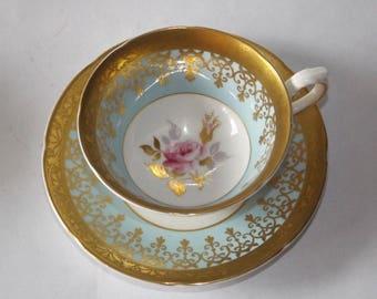 Floral Royal Grafton Tea Cu, Blue Vintage Royal Grafton Tea Cup & Saucer Set with Gold, Bone China #10232017