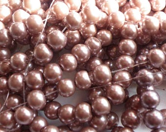 100 glass beads 8 mm beige rose