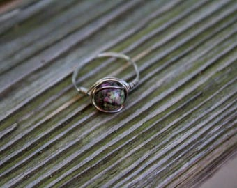 Ruby in Zoisite Wire Wrapped Ring. Healing. Crystal. Gemstone. Gift. Birthday. Bridesmaid. Wedding. Anniversary. Handmade. Yoga Jewelry