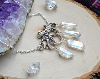 Octopus Necklace - Octopus Jewelry - Octopus Pendant - Angel Aura Quartz - Angel Aura Quartz Necklace - Angel Aura Necklace - Angel Quartz