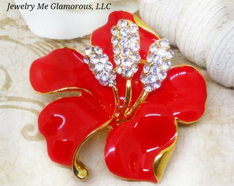 Red  Flower Rhinestone Brooch, Mother's gift, Grandmother's Gift, Gifts for her, Stocking Gift, Coworker gift