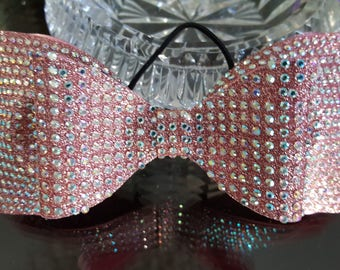 Pink Gold Fully Crusted Cheer Bow