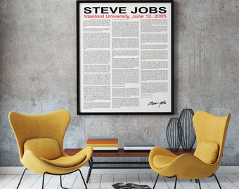Steve Jobs Speech 2005 at Stanford University Full text Steve Jobs Quotation Steve Jobs Quote Apple Wall Art Stay Hungry Stay Foolish