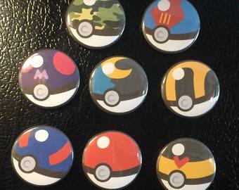 Pokemon Pokeball Magnet Set of 8