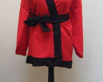 Top red & Black kimono with belt