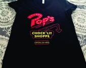 "Riverdale inspired,""Pop's Chock'Lit Shoppe,"" Two Color Bella V-neck Tee or Gildan Unisex Tee or Tank"
