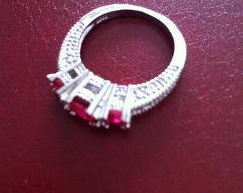 925 silver red sapphire ring