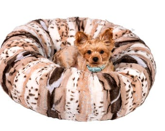 BEIGE LEOPARD PLUSH:  Ultra Plush Soft Cuddle Pet Bed, Dog Bed, Cat Bed, Pet Furniture for Dog or Cat, Small and Medium Pet Bed