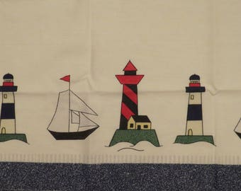 Set of 2 Vintage Lighthouse curtains