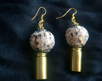 Upcycled Bullet Earrings with Crushed Shell Beads