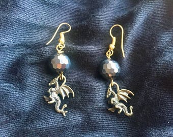 Baby Dragon Earrings with Black Beads
