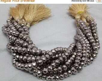 50% OFF 1 Strand Natural Pyrite Silver Coated Rondelle - Natural Pyrite Rondelle Coated Beads Size 7-8mm - 10 Inches Long Strand
