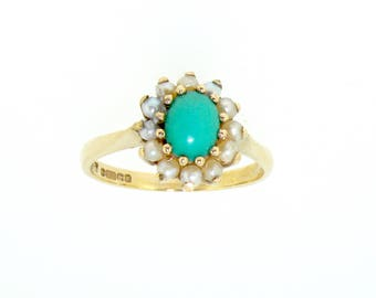 9ct yellow gold turquoise and seed pearl cluster ring size O Birmingham 1968