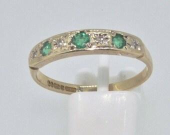 9ct yellow gold emerald & diamond half eternity ring size P London 1987