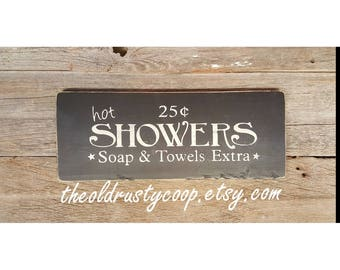 Rustic Hot Showers Wood Sign