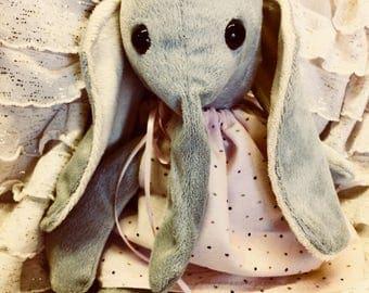 Light Gray Plush Elephant in Pink Dress