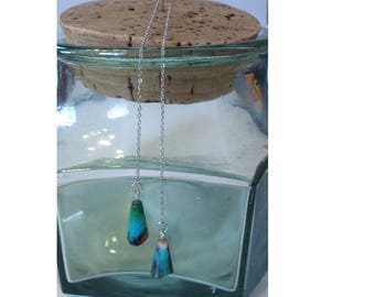 Stainless steel, crystal glass Teardrops marbled multicolored chains