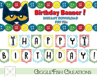 Pete the Cat Inspired Birthday Banner | Digital File