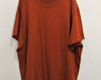 Men's Vintage 90's Neat Rust Red Urban HIP H0P era T shirt.2X