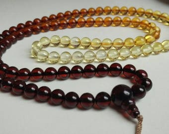Seven colours - 108 beads baltic amber mala for meditation (size Ø7), buddhist meditation, guru bead, 108 bead mala