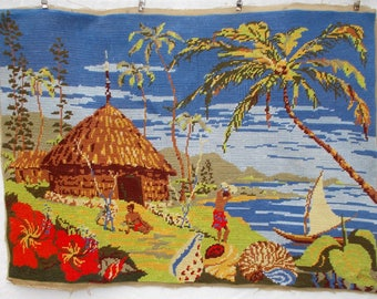 Vintage French Completed Needlepoint Tapestry 'South Pacific.  Perfect for new Creations. (6670s)
